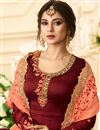 photo of Jennifer Winget Embroidery Work On Maroon Designer Anarkali Salwar Kameez In Georgette
