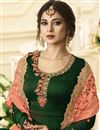 photo of Jennifer Winget Georgette Party Wear Embroidered Anarkali Suit In Green