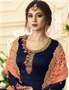 photo of Jennifer Winget Designer Embroidered Anarkali Salwar Kameez In Navy Blue Georgette