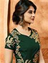 photo of Jennifer Winget Designer Georgette Anarkali Dress In Dark Green With Embroidery