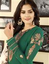 photo of Embroidery Work On Green Occasion Wear Straight Cut Suit