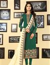 image of Embroidery Work On Green Occasion Wear Straight Cut Suit