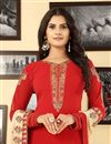 photo of Red Georgette Festive Wear Straight Cut Suit Embroidery Work