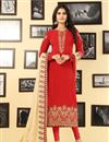 image of Red Georgette Festive Wear Straight Cut Suit Embroidery Work