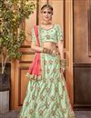 image of Sea Green Art Silk Fabric Embroidery Work Designer Reception Wear Lehenga
