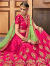 photo of Art Silk Fabric Dark Pink Fancy Embroidery Work Wedding Lehenga