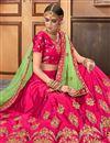 photo of Dark Pink Art Silk Fabric Reception Wear Lehenga Choli With Embroidery Work