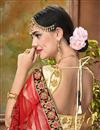 photo of Beige Embroidery Work Designer Art Silk Fabric Sangeet Wear Lehenga