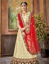 image of Beige Embroidery Work Designer Art Silk Fabric Sangeet Wear Lehenga