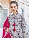 photo of Printed Grey Color Art Silk Fabric Readymade Anarkali Salwar Suit