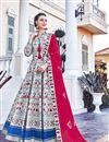 image of Printed Grey Color Art Silk Fabric Readymade Anarkali Salwar Suit