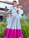 image of Grey Satin Fabric Casual Party Style Fancy Long Length Shibori Printed Kurti