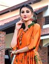 photo of Casual Party Wear Shibori Printed Long Length Satin Fabric Orange Fancy Kurti