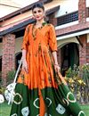 image of Casual Party Wear Shibori Printed Long Length Satin Fabric Orange Fancy Kurti