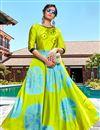 image of Satin Fabric Fancy Green Shibori Printed Casual Party Wear Long Length Kurti