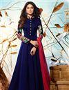 image of Jennifer Winget Navy Blue Georgette Embroidered Readymade Anarkali Salwar Kameez