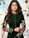 photo of Festive Special Jennifer Winget Occasion Wear Embroidery Work Readymade Anarkali Dress In Dark Green
