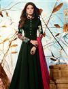 image of Jennifer Winget Occasion Wear Embroidery Work Readymade Anarkali Dress In Dark Green