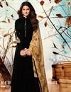 image of Jennifer Winget Embroidery Work On Black Anarkali Suit In Georgette