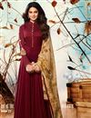 image of Festive Special Jennifer Winget Embroidery Work On Maroon Georgette Anarkali Salwar Kameez