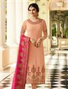 image of Prachi Desai Art Silk Salmon Embroidered Straight Suit