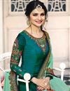 photo of Prachi Desai Teal Fancy Straight Cut Suit In Art Silk