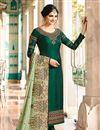 image of Prachi Desai Dark Green Fancy Straight Cut Suit In Art Silk In Plus Size