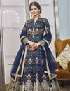 image of Function Wear Navy Blue Color Jacquard Fabric Readymade Anarkali With Leggings