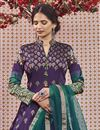 photo of Readymade Purple Color Function Wear Jacquard Fabric Anarkali With Leggings
