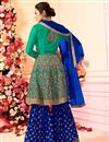 photo of Drashti Dhami Embroidered Georgette Fabric Cyan Fancy Sharara Suit