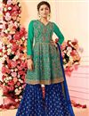 image of Drashti Dhami Embroidered Georgette Fabric Cyan Fancy Sharara Suit
