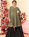 image of Drashti Dhami Designer Grey Wedding Wear Sharara Dress In Georgette