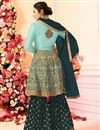 photo of Drashti Dhami Embroidered Georgette Fabric Light Cyan Fancy Sharara Suit
