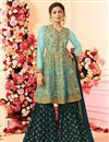 image of Drashti Dhami Embroidered Georgette Fabric Light Cyan Fancy Sharara Suit