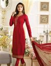 image of Best Selling Drashti Dhami Crepe Red Straight Cut Fancy Salwar Suit
