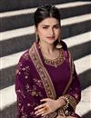 photo of Prachi Desai Embroidery Work On Purple Color Party Wear Palazzo Suit In Satin Georgette Fabric