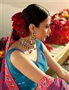 photo of Cyan Color Printed Designer Wedding Wear Art Silk Fabric Lehenga Choli