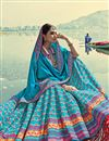 photo of Sky Blue Color Art Silk Fabric Printed Reception Wear Fancy Lehenga Choli