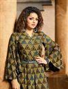 photo of Drashti Dhami Rayon Khaki Digital Print Long Readymade Kurti In Plus Size