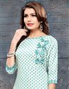 photo of Delightful Cotton Fabric Daily Wear Readymade Kurti In White Color With Palazzo Bottom