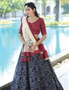 image of Navy Blue Color Georgette Fabric Reception Wear Readymade Lehenga Choli