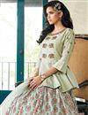 photo of Cream Color Function Wear Designer Art Silk Readymade Lehenga Choli