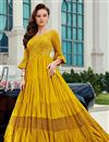 image of Viscose Fabric Function Wear Readymade Yellow Color Anarkali Suit