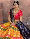 photo of Embroidered Banarasi Silk Fabric Bridal Lehenga In Yellow with Designer Choli