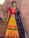 image of Embroidered Banarasi Silk Fabric Bridal Lehenga In Yellow with Designer Choli