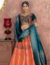 image of Banarasi Silk Fabric Peach Reception Wear Lehenga Choli With Embroidery Work