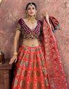 photo of Pink Banarasi Silk Fabric Wedding Wear 3 Piece Lehenga Choli With Embroidery Work