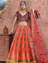 image of Pink Banarasi Silk Fabric Wedding Wear 3 Piece Lehenga Choli With Embroidery Work