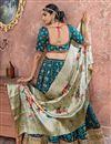 photo of Banarasi Silk Fabric Designer Bridal Lehenga With Embroidery Work On Navy Blue