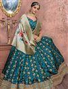 image of Banarasi Silk Fabric Designer Bridal Lehenga With Embroidery Work On Navy Blue
